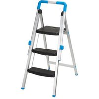 Mac Allister 3 tread Aluminium Foldable Step stool (H)1.1m.