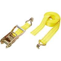 Yellow Ratchet tie down & hook (L)6000mm.