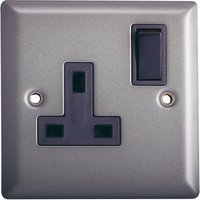 Volex 13A Grey pewter effect Single Indoor Switched Socket.