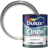 Dulux Once Pure brilliant white Gloss Metal & wood paint 0.75L