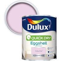 Dulux Quick dry Pretty pink Eggshell Metal & wood paint 0.75L