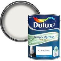 Dulux One coat Pure brilliant white Matt Emulsion paint 5L.