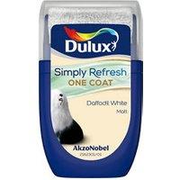 Dulux One coat Daffodil white Matt Emulsion paint 30ml Tester pot.