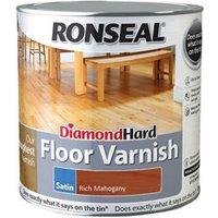 Ronseal Diamond hard Rich mahogany Satin Floor Wood varnish  2.5L