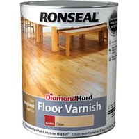 Ronseal Diamond hard Clear Gloss Floor Wood varnish  5L