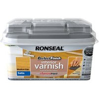 Ronseal Perfect finish Medium oak Satin Wood varnish  0.75L