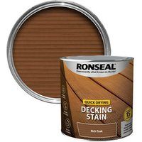 Ronseal Quick-drying Rich teak Matt Decking Wood stain  2.5L