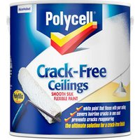 Polycell Crack free White Silk Emulsion paint 2.5L