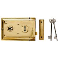 Yale 43mm Polished Brass effect Metal Rim lock  (H)104mm (L)156mm