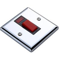 Volex 45A Chrome effect Cooker Switch.