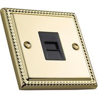 Volex 1 gang Raised Polished brass effect Telephone socket.