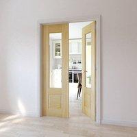 2 panel 1 Lite Glazed Primed Pine Internal French Door set  (H)2020mm (W)1230mm
