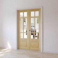 2 panel 6 Lite Glazed Primed Pine Internal French Door set  (H)1981mm (W)579mm