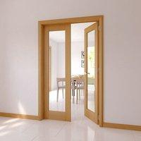 1 Lite Glazed Shaker Oak veneer Internal Door set  (H)2030mm (W)579mm