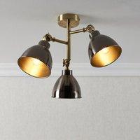 Nobo Matt Antique brass effect 3 Lamp Ceiling light.