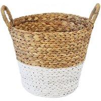 Natural & white Water hyacinth Storage basket (H)360mm (W)350mm.