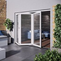 Jeld-Wen Bedgebury Clear Glazed White Hardwood Reversible External Folding Patio Door set  (H)2094mm (W)1794mm