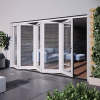 Jeld-Wen Bedgebury Clear Glazed White Hardwood Reversible External Folding Patio Door set  (H)2094mm (W)3594mm