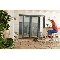 Jeld-Wen Bedgebury Clear Glazed Grey Hardwood Reversible External Folding Patio Door set  (H)2094mm (W)2394mm