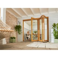 Jeld-Wen Kinsley Clear Glazed Golden Oak Reversible External Folding Patio Door set  (H)2094mm (W)3594mm