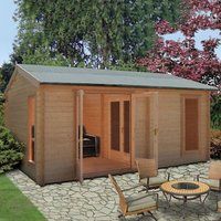 Shire Firestone 13x17 Apex Tongue and groove Wooden Cabin - Assembly service included