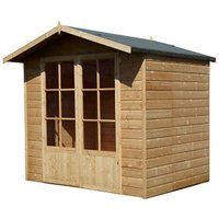 Shire Lumley 7x5 Toughened glass Apex Shiplap Wooden Summer house - Assembly service included
