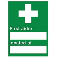 First aider located Self-adhesive labels (H)200mm (W)150mm