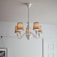 Tulou Grey & white Wood effect 5 Lamp Pendant ceiling light.