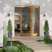 Jeld-Wen Canberra Clear Glazed Golden Oak RH External Folding Patio Door set  (H)2094mm (W)1794mm