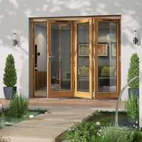 Jeld-Wen Canberra Clear Glazed Golden Oak RH External Folding Patio Door set  (H)2094mm (W)2394mm