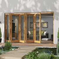 Jeld-Wen Canberra Clear Glazed Golden Oak LH External Folding Patio Door set  (H)2094mm (W)3594mm