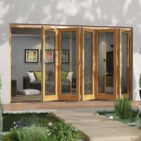 Jeld-Wen Canberra Clear Glazed Golden Oak RH External Folding Patio Door set  (H)2094mm (W)3594mm