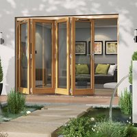 Jeld-Wen Canberra Clear Glazed Golden Oak LH External Folding Patio Door set  (H)2094mm (W)2994mm