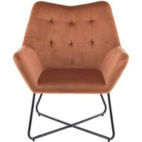 Turio Burnt orange Velvet effect Chair (H)865mm (W)750mm (D)800mm.