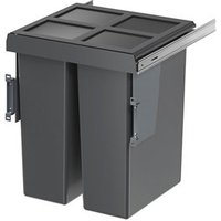 GoodHome Vigote Anthracite Silver effect Plastic Rectangular Integrated Kitchen Pull-out bin  58L