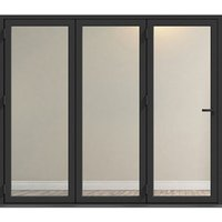 Crystal Clear Glazed Grey Aluminium LH External Folding Bi-fold Door set  (H)2104mm (W)2104mm