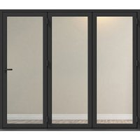 Crystal Clear Glazed Grey Aluminium RH External Folding Bi-fold Door set  (H)2104mm (W)2104mm