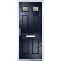 Crystal 6 panel Frosted Glazed Navy blue Composite RH External Front Door set  (H)2055mm (W)920mm
