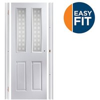 Easy fit 4 panel Patterned Frosted Glazed Pre-painted White Adjustable Internal Door and frame set  (H)1988mm-1996mm (W)75