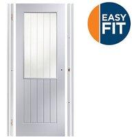 Easy fit Glazed Cottage Pre-painted White Adjustable Internal Door and frame set  (H)1988mm-1996mm (W)759mm-771mm