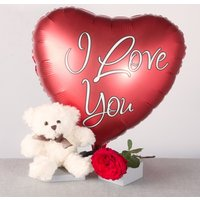 I Love You Gift with White Teddy - Teddy Gifts