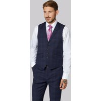 Ted Baker Tailored Fit Navy   Blue Check Waistcoat