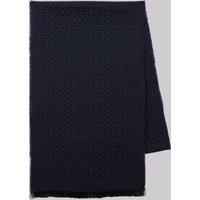 DKNY Navy Geometric Lightweight Wool Scarf