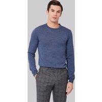DKNY Slim Fit Blue Merino Wool Crew Neck Jumper