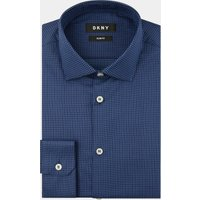 DKNY Slim Fit Blue Single Cuff Textured Shirt