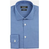 DKNY Slim Fit Navy Single Cuff Textured Shirt