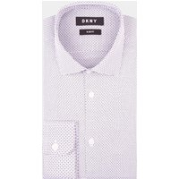DKNY Slim Fit Grey Single Cuff Dobby Shirt
