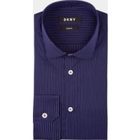 DKNY Slim Fit Navy Single Cuff Stripe Stretch Shirt