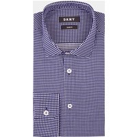 DKNY Slim Fit Navy Single Cuff Spot Shirt