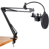 NB-35 Microphone Scissor Arm Stand and Table Mounting Clamp&NW Filter Windscreen Shield & Metal Mount Kit